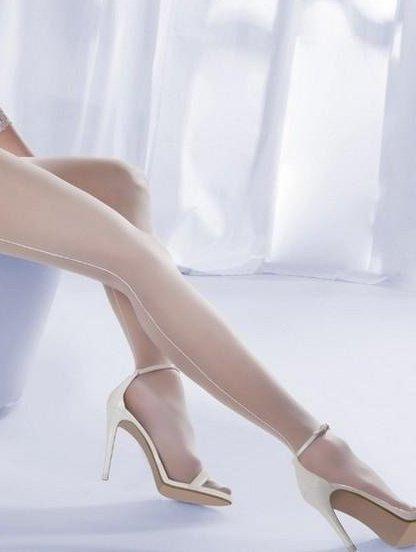 Свадебные колготки с прозрачным носком и стрелками 20den, фото 1