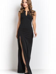 Черное шикарное платье с глубоким боковым разрезом
