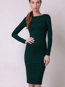 Классическое платье-футляр на длинный рукав темно-зеленого цвета