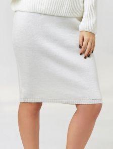 Белая теплая юбка с добавлением люрексовой нити