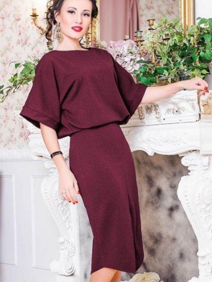 Бордовое платье летучая мышь ,длины-миди с вырезом лодочка, фото 1