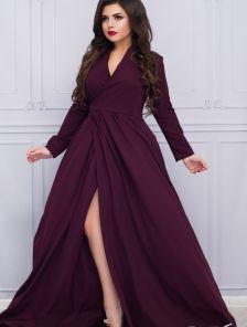 Обворожительное вечернее платье цвета марсала на запах с оригинальным поясом