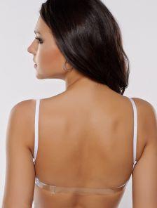 Гладкий белый бюстгальтер-невидимка push up с силиконовой спиной