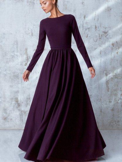 Нарядное класическое платье в пол насыщенного винного цвета, фото 1