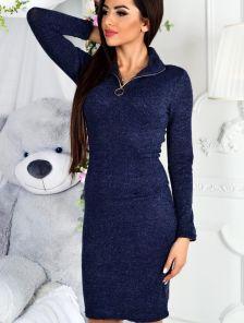 Платье-футляр в рубчик с молнией в зоне декольте синего цвета