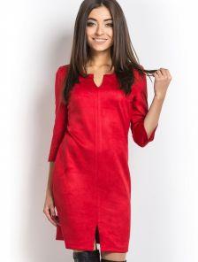 Красное короткое платье прямого покроя из замши