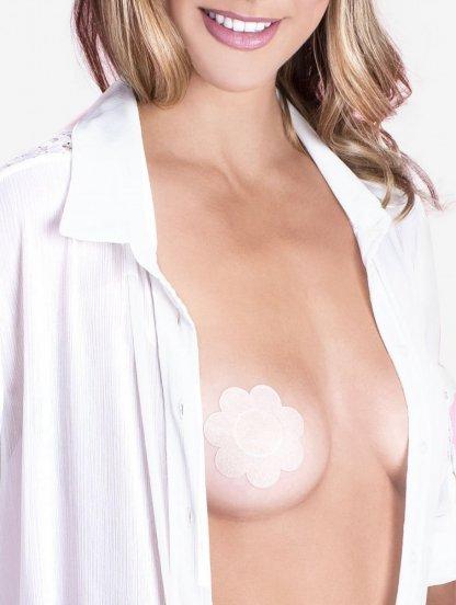 Наклейки на грудь сатиновые в форме цветочка