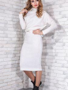 """Теплое платье белого цвета с рукавами """"летучая мышь"""""""