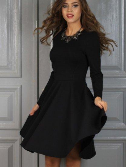 Нарядное класическое платье миди длинны в черном цвете, фото 1