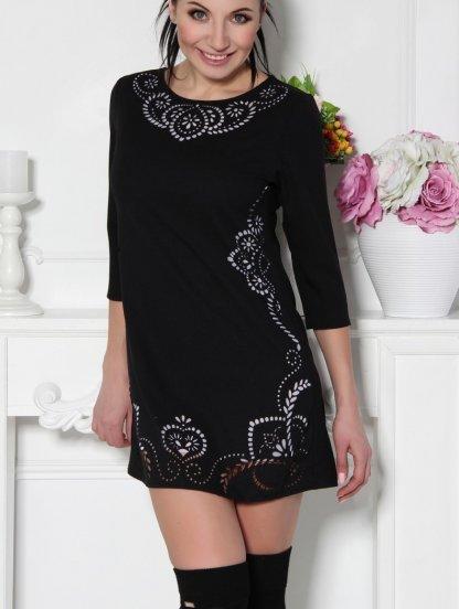 Короткое черное платье-туника с перфорацией и рукавом 3\4, фото 1