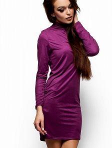 Фиолетовое платье-гольф свободного кроя из тонкого эластичного замша