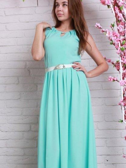 Длинное летнее платье нежного мятного цвета с золотистым пояском, фото 1