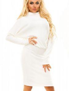 """Теплое зимнее платье белого цвета с рукавами """"летучая мышь"""""""