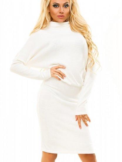 """Теплое платье белого цвета с рукавами """"летучая мышь"""", фото 1"""