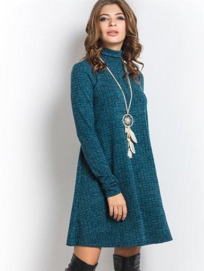 Платье-трапеция изумрудного цвета с геометрическим узором, фото 1