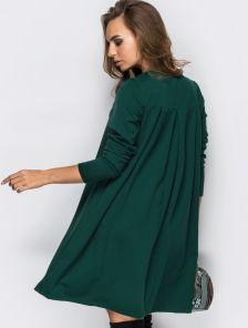Зеленое короткое платье-трапеция с длинным рукавом