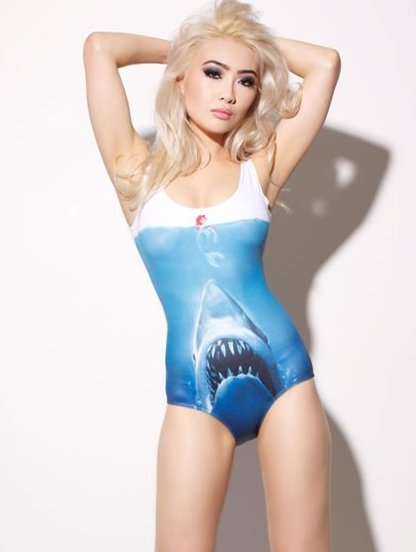 Оригинальный закрытый купальник с принтом акулы, фото 1