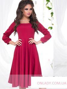 """Красное коктейльное платье с юбкой """"солнце"""""""