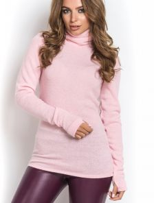 Зимний длинный светлый ангоровый свитер водолазка