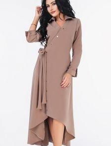 Осеннее платье с удлиненной спинкой