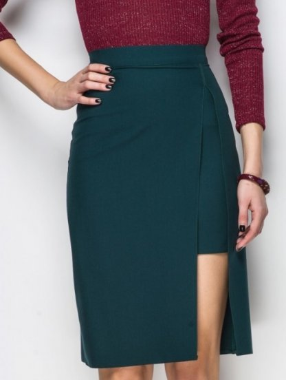 Стильная юбка карандаш на талии с имитацией короткой юбки, фото 1