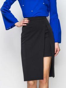 Черная офисная юбка длины миди с имитацией короткой юбки под низом