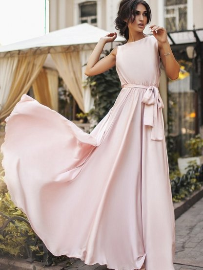 Праздничное длинное светлое шелковое платье без рукавов, фото 1