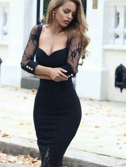 Черное платье с декольте и гипюровыми вставками на рукавах, фото 1