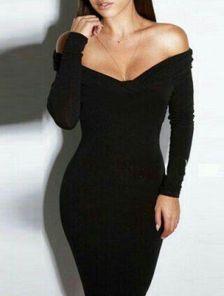 Черное приталеное платье с приспущеными плечами длинны-миди