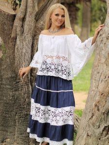 Хлопковая летняя кружевная блуза в белом цвете с кружевом