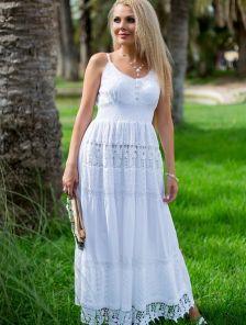 Длиннный белый сарафан для лета