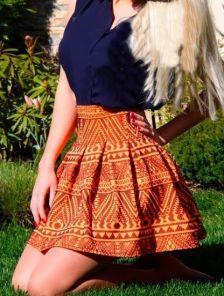 Короткая мини юбка сонце клеш