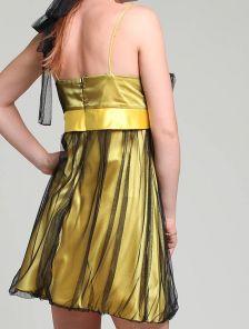 Нарядное короткое платье с сеточкой и бантом под грудью