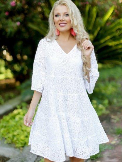 Белое летнее платье А-силуэта с рукавом 3/4, фото 1