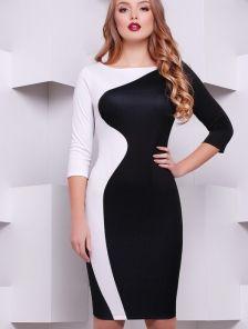 Стильное черно-белое платье-футляр