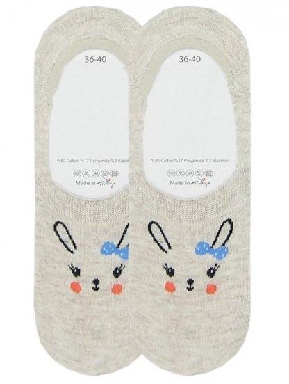 Низкие носочки с изображением зайчика с бантиком