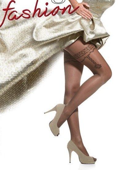 Фантазийные колготки с имитацией подвязки в виде цепей на 40 ден, фото 1