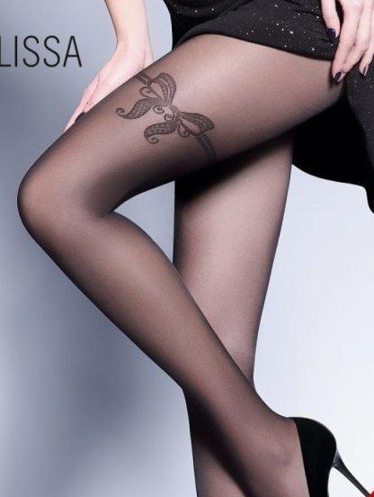Фантазийные тонкие колготки с рисунком подвязки в виде бантика на левой ноге, фото 1