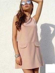 Бежевое платье-мини с каманами ,без рукавов