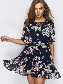 Красивое, воздушное шифоновое платье на тонком подкладе в цветы