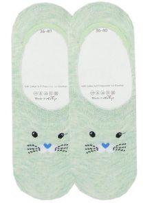 Носочки следки с котиком на зеленом фоне