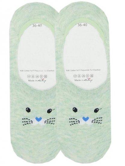 Носочки следки с мордочкой котиком на зеленом фоне