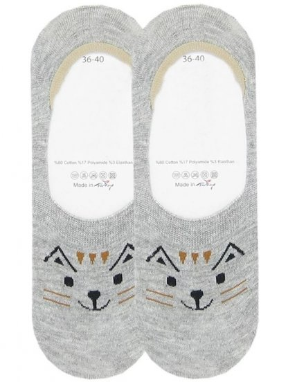 Носочки следки с изображением игривого котика с усами
