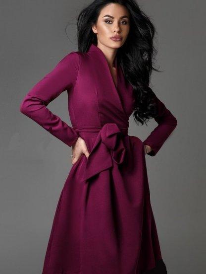 Бордовое длинное платье с рукавами и на запах, фото 1