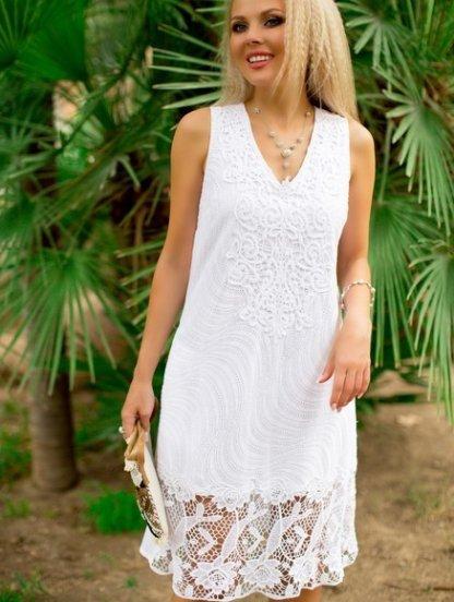 Хлопковое платье с кружевом белого цвета длины-миди, фото 1