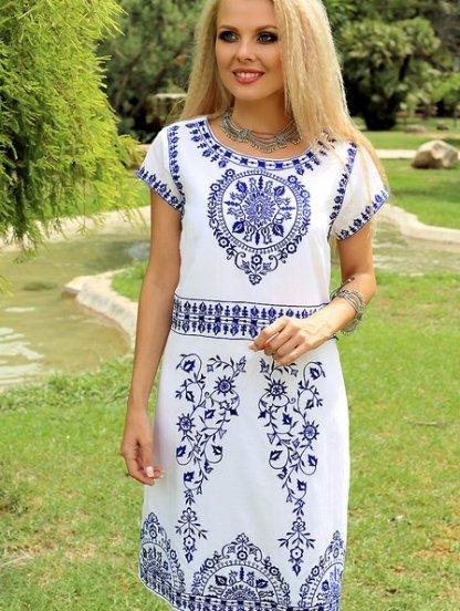 Летнее белое хлопковое платье с вышивкой, фото 1