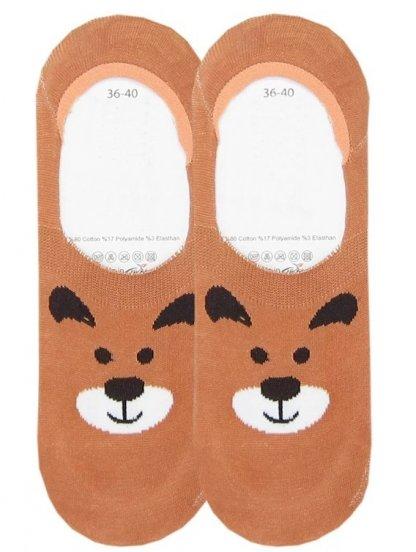 Носочки с изображением веселого бурого мишки