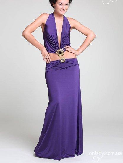 Фиолетовое платье с открытым животом, фото 1