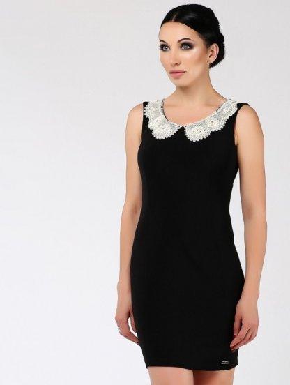 Черное короткое силуэтное платье с кружевным воротником, фото 1