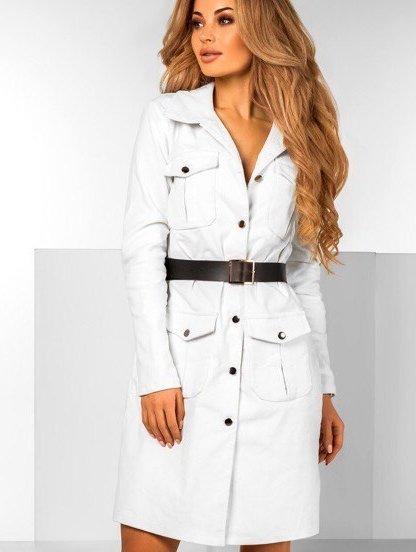Белое платье рубашка из вельвета, фото 1